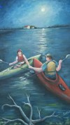 "two kayaks paddle to each other under a full moon. called "" Kayaks in the Moonlight"" by Elaine Bethke"