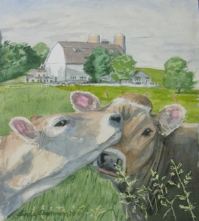 Cows watercolor by Linda Shannon of the Driftless Area Artists AssociationLinda Shannon