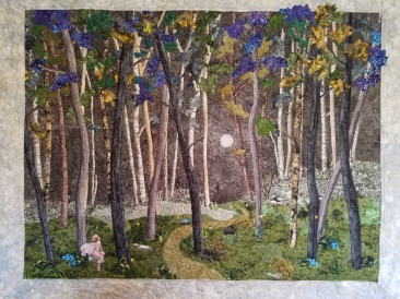 "Landscape quilt, purples, blues, moonlit forest with fairy along a path in the woods called ""Once Upon a Firefly Moon"" by Sally Berray"